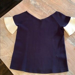 Ann Taylor Navy Blur Cream Ruffle Fitted Top SP